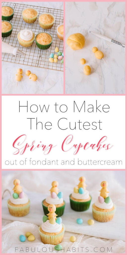 How to make the cutest Easter Chick Cupcakes for spring... using fondant and buttercream! #springdessert