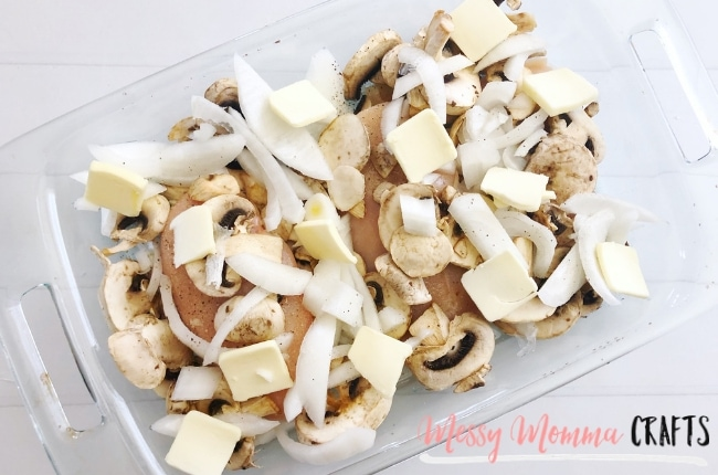 Mushroom and Onion Baked Chicken is such a quick and easy recipe that the whole family will enjoy.