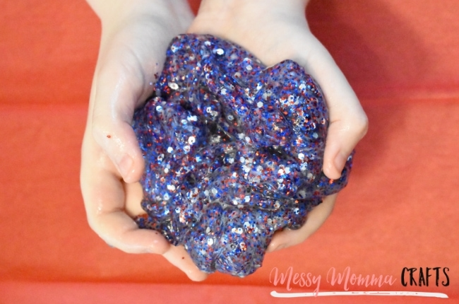 4th of July Glitter Slime is so much fun, especially when it's made with lots of glitter.