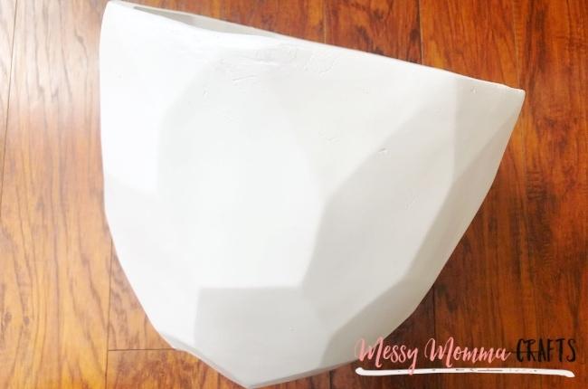 White geometric flower pot.
