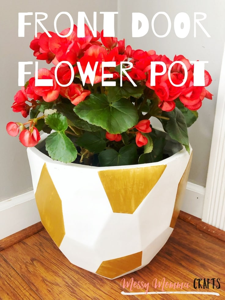Style your front porch with this Front Door Flower Pot painted with a beautiful metallic gold paint.