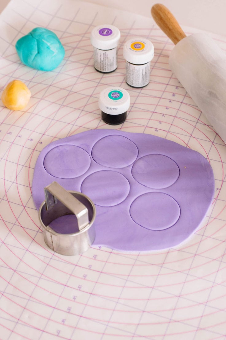 The base to my Princess Jasmine Cupcake toppers are circular purple fondant pieces