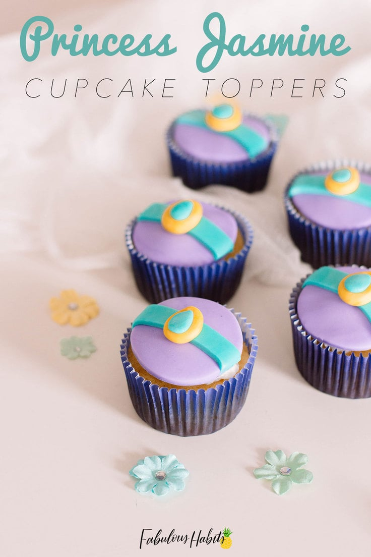 Learn how to put together your very own Princess Jasmine Cupcake Toppers so that you can make these cute Aladdin-inspired cupcakes! #aladdincupcakes