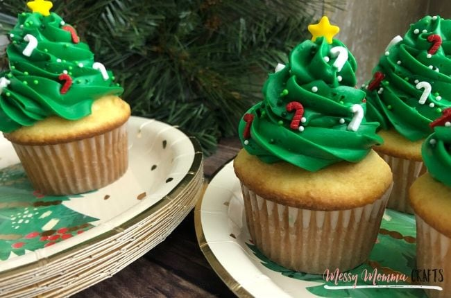 These Christmas Tree Cupcakes only require a few ingredients and will make your Christmas party guest smile with Christmas Cheer.