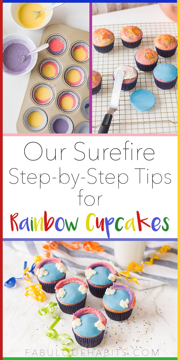 Our best recipe on how to make the cutest rainbow cupcakes - perfect treat to add color to your party! #rainbowdessert