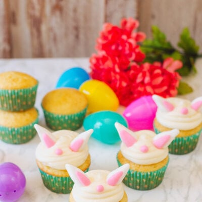 """These Easter Bunny Cupcakes will make you go """"hoppity hop, hoppity hop..."""" and your family will absolutely ADORE them! #eastercupcakes"""
