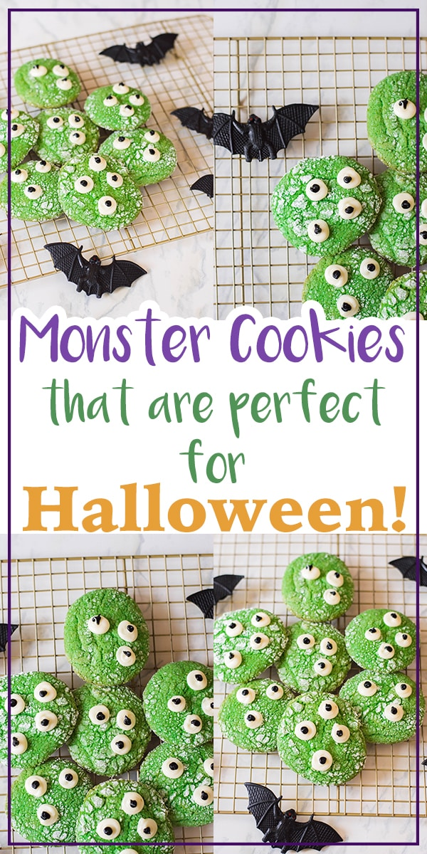 Who's up for a Halloween treat?! I know I always am! These Monster Cookies are just perfect for Halloween - and guess what? They're made with a vanilla cake mix, so you know they're super simple to whip up.