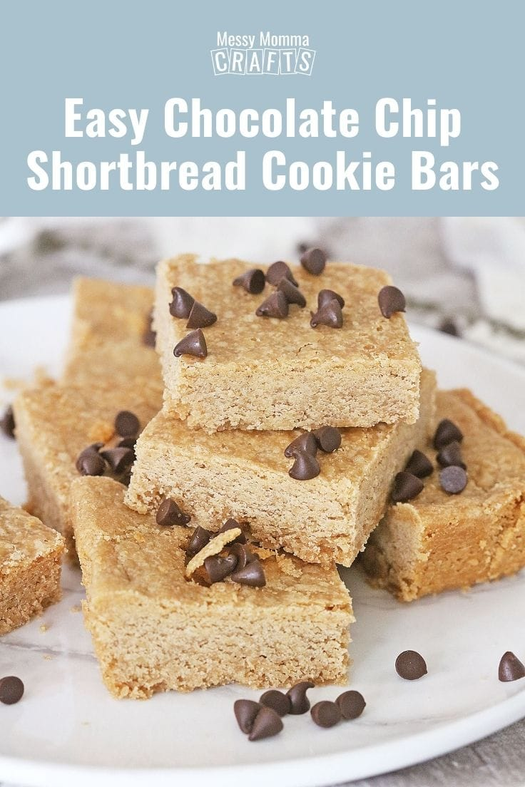 Easy chocolate chip shortbread cookie bars.