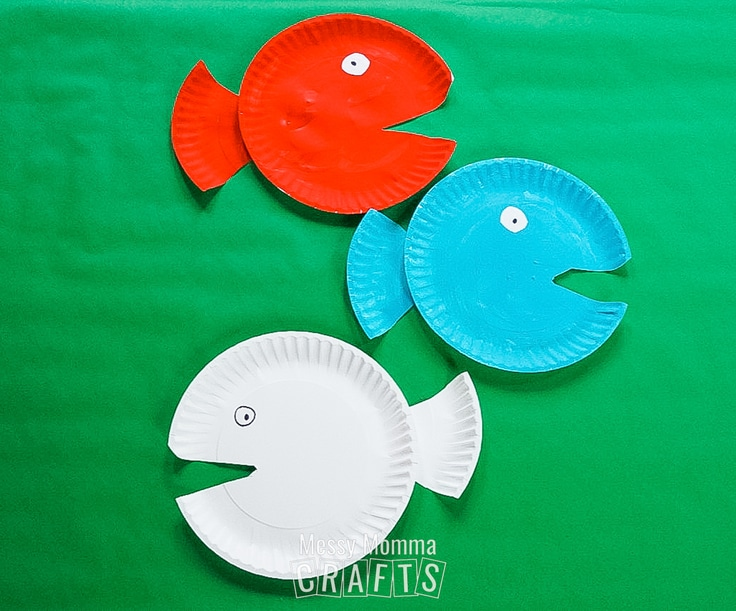 Red, blue, and white paper plate fish.
