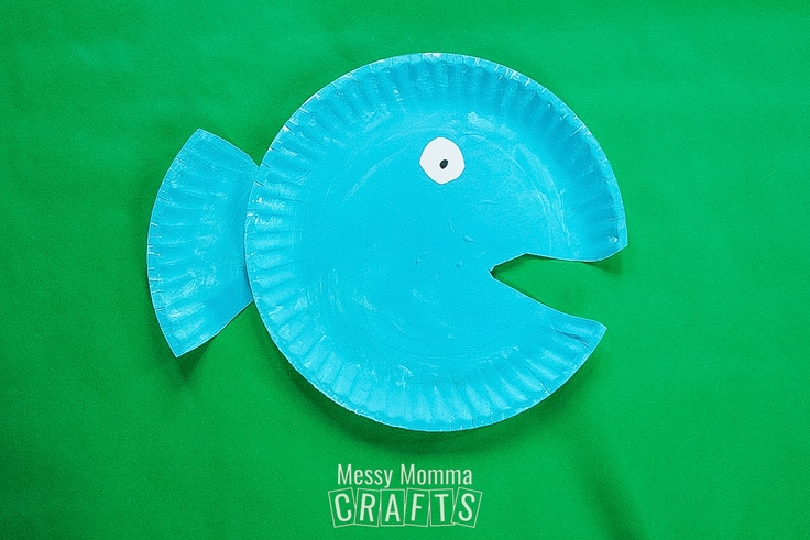 A blue paper plate fish.