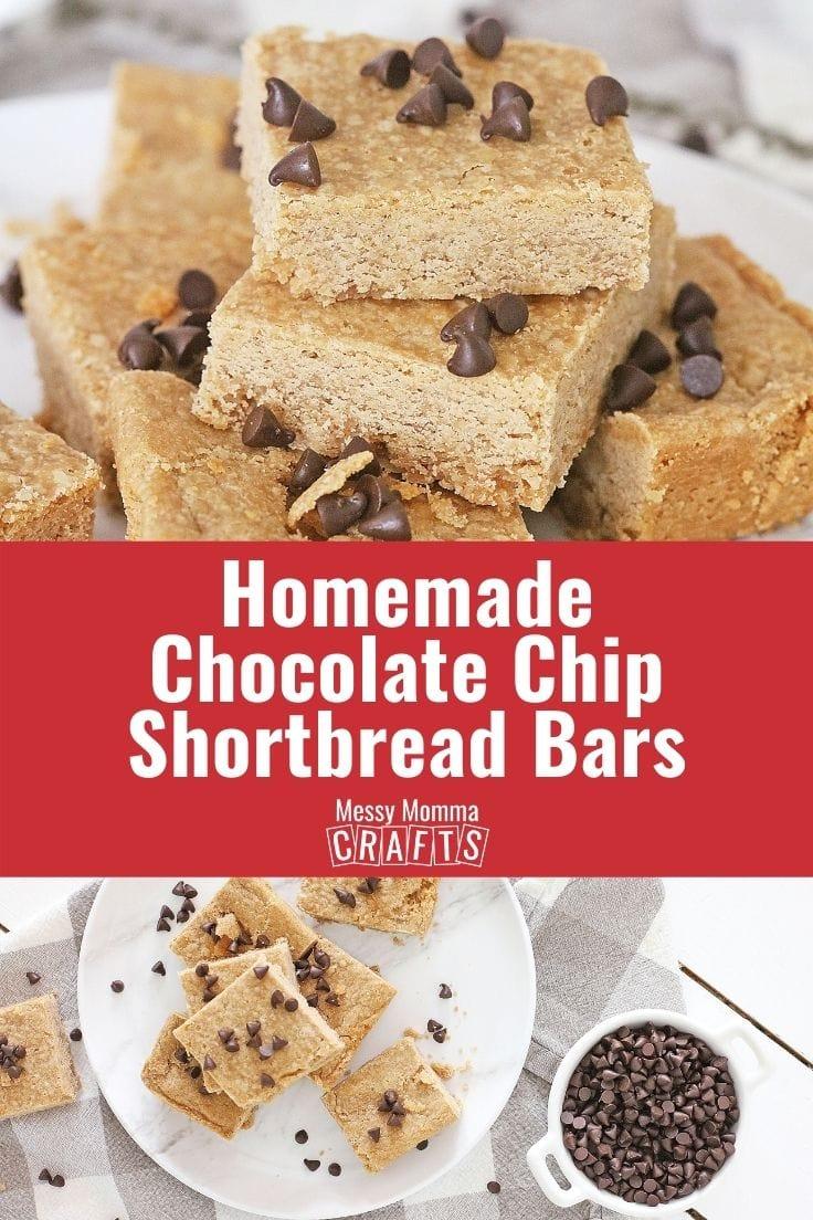 Homemade chocolate chip shortbread bars.