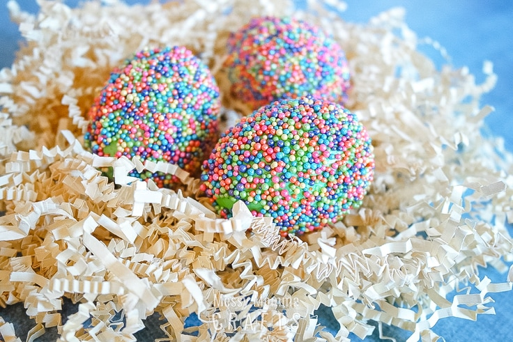 Pastel rainbow sprinkles on boiled eggs.