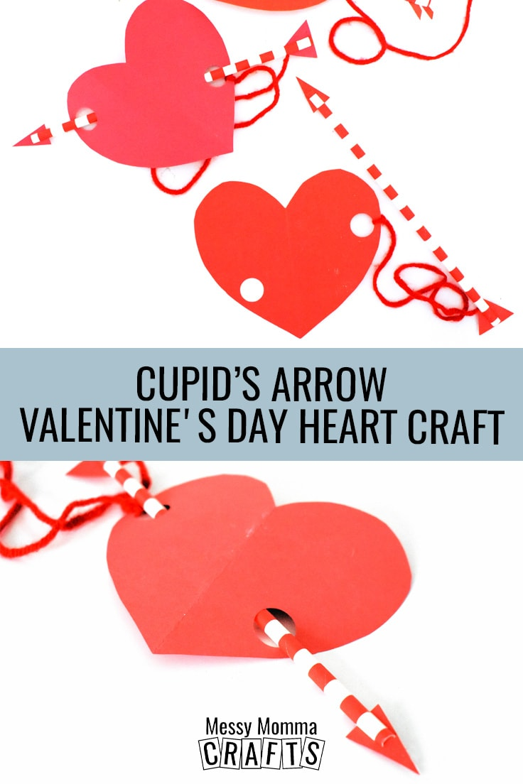 Cupid's Arrow Valentine's Day heart craft.