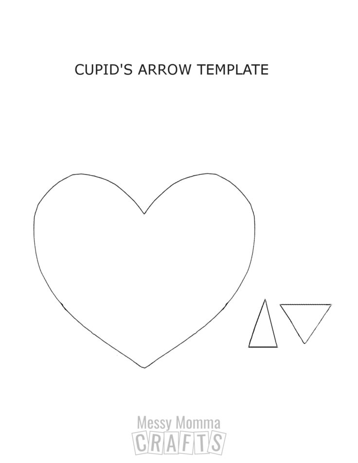 Cupid's arrow heart template.
