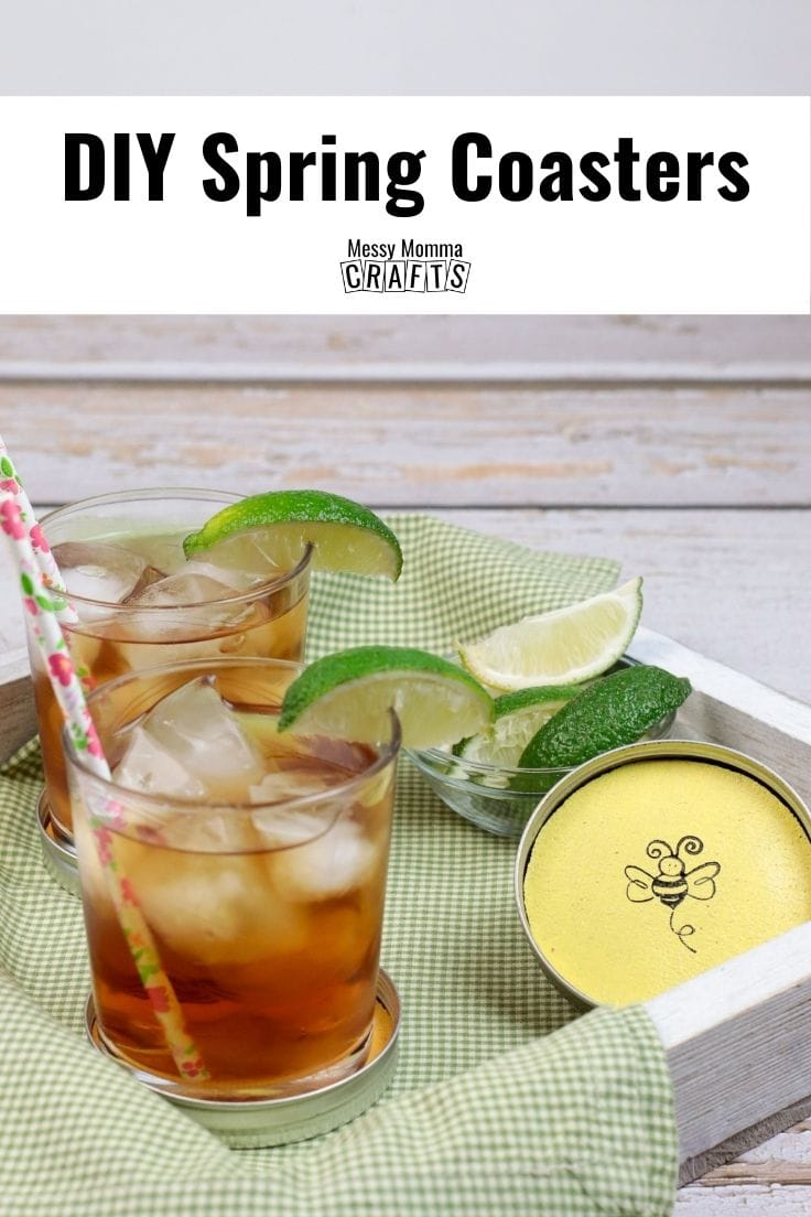 DIY spring coasters in a wooden tray for serving drinks.