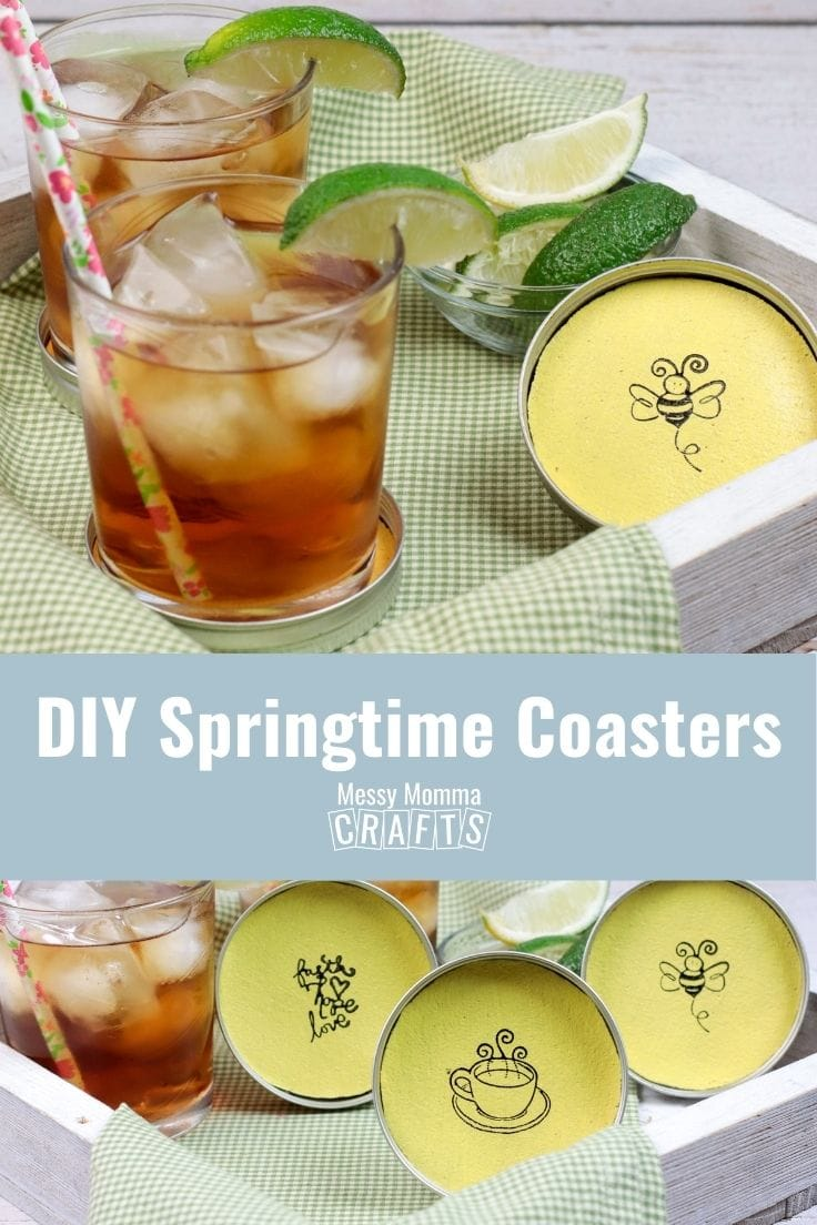 DIY springtime coasters with yellow painted cork and stamped artwork.