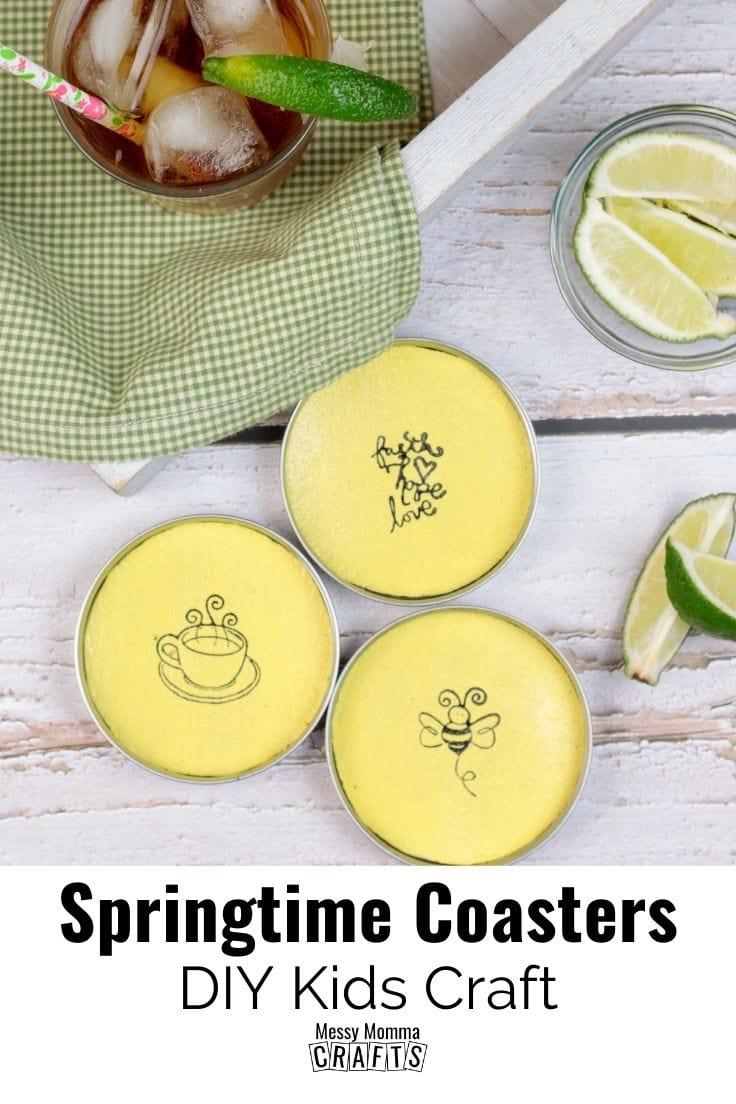 Springtime coasters DIY kids craft made with mason jar lids and artwork.