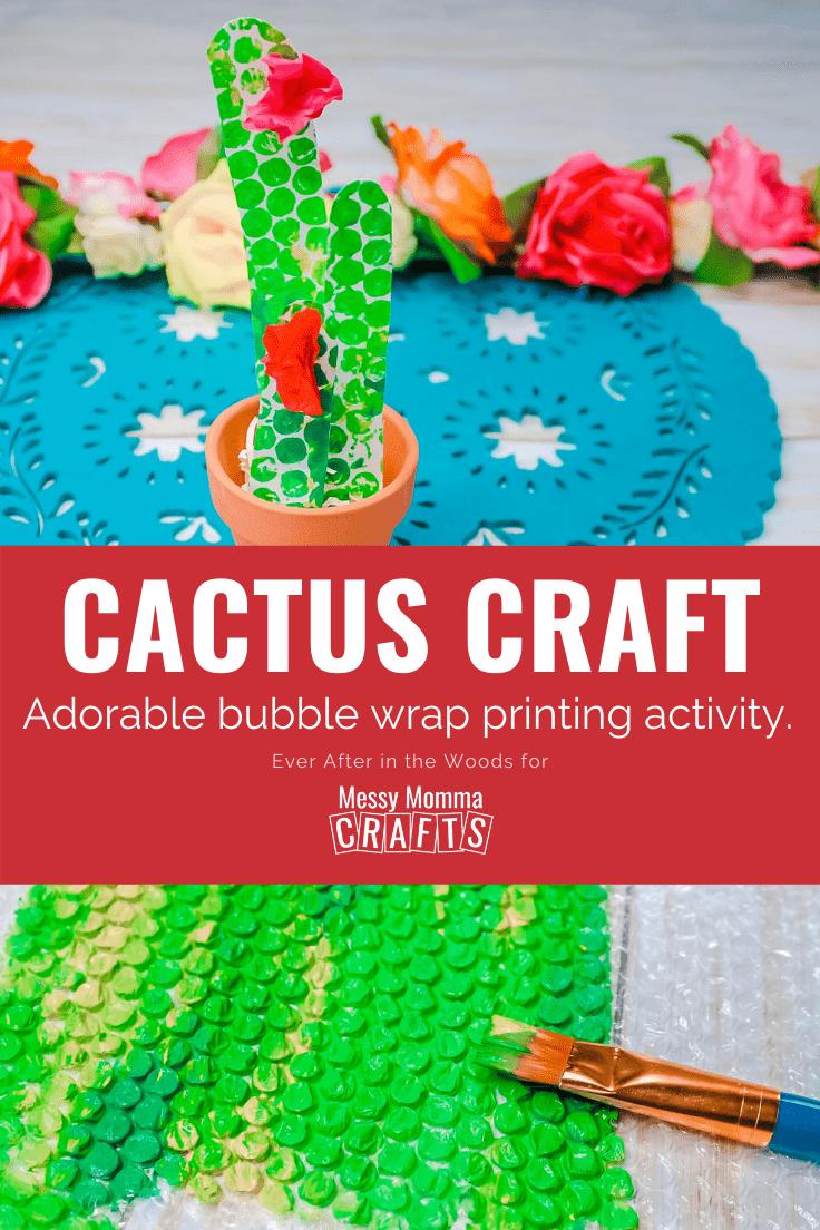 Cactus craft bubble wrap printing activity.