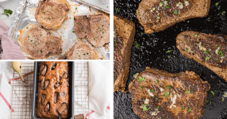 A collage of 3 different food recipes you'll find on Easy Recipe Depot - Pork chops, banana bread, and steak.