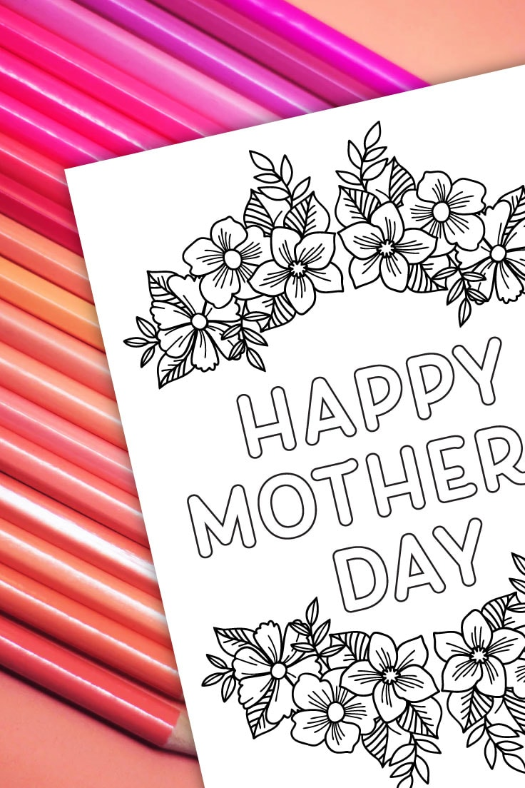 Preview of printable mother's day card for coloring on top of pink colored pencils.