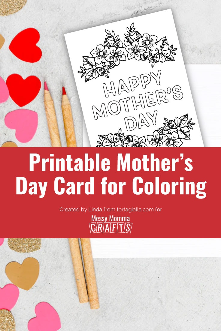 Preview of printable mother's day card for coloring with red, pink and gold hearts confetti and colored pencils.