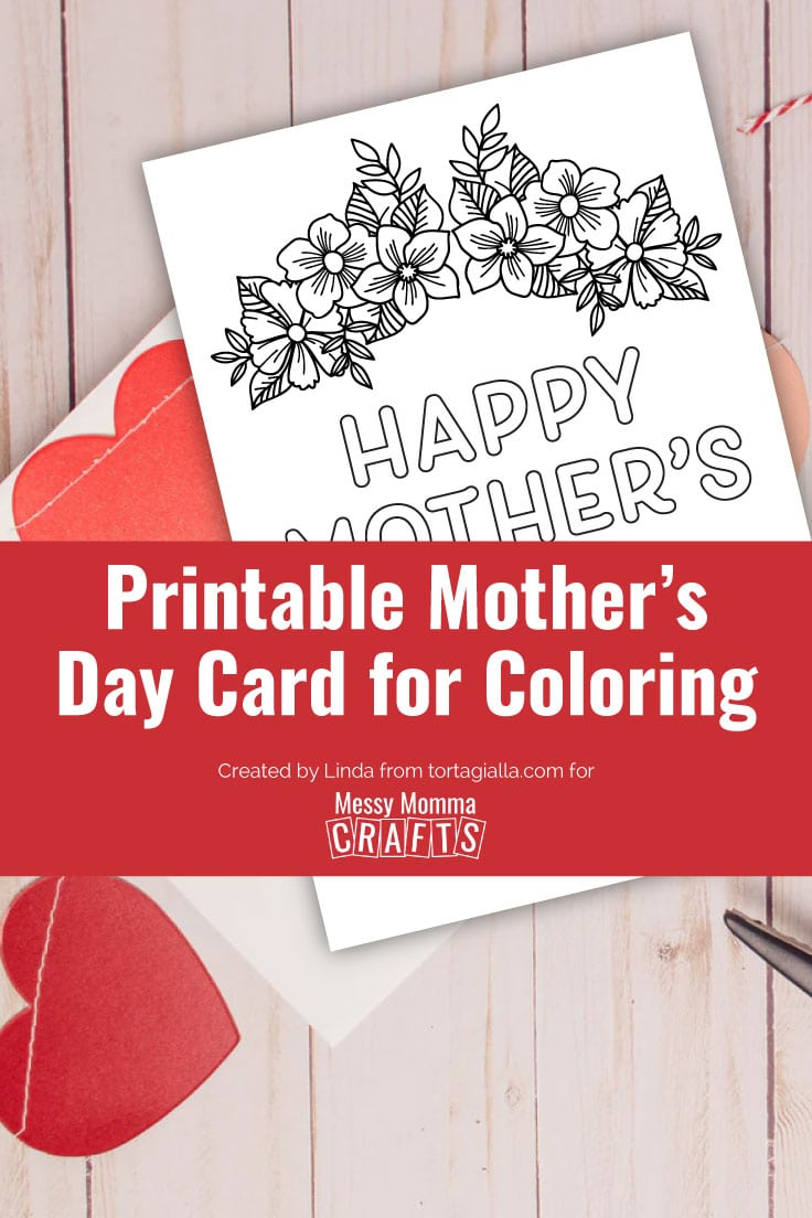 Preview of printable Mother's Day card for coloring on wooden desk with heart banner papercrafts.