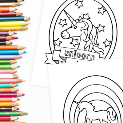 Preview of two unicorn coloring page designs with a row of colored pencils.