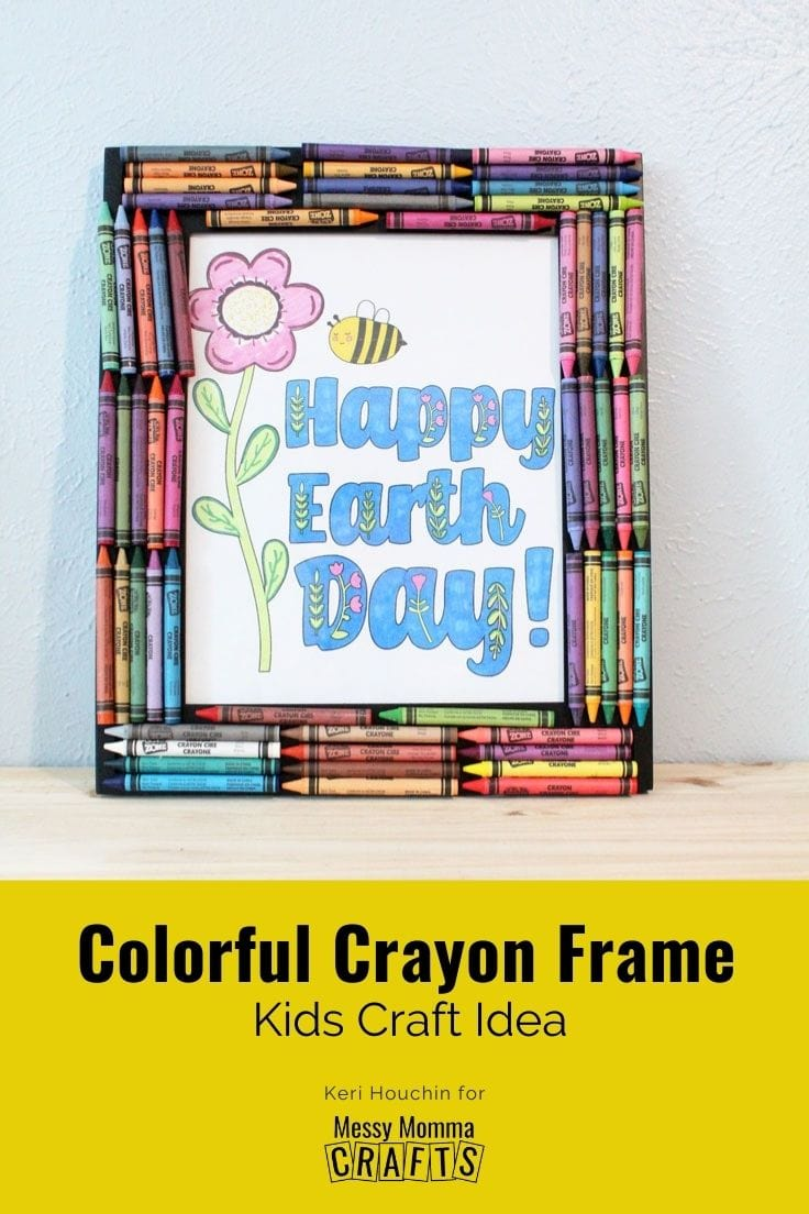 Colorful crayon frame kids craft idea.