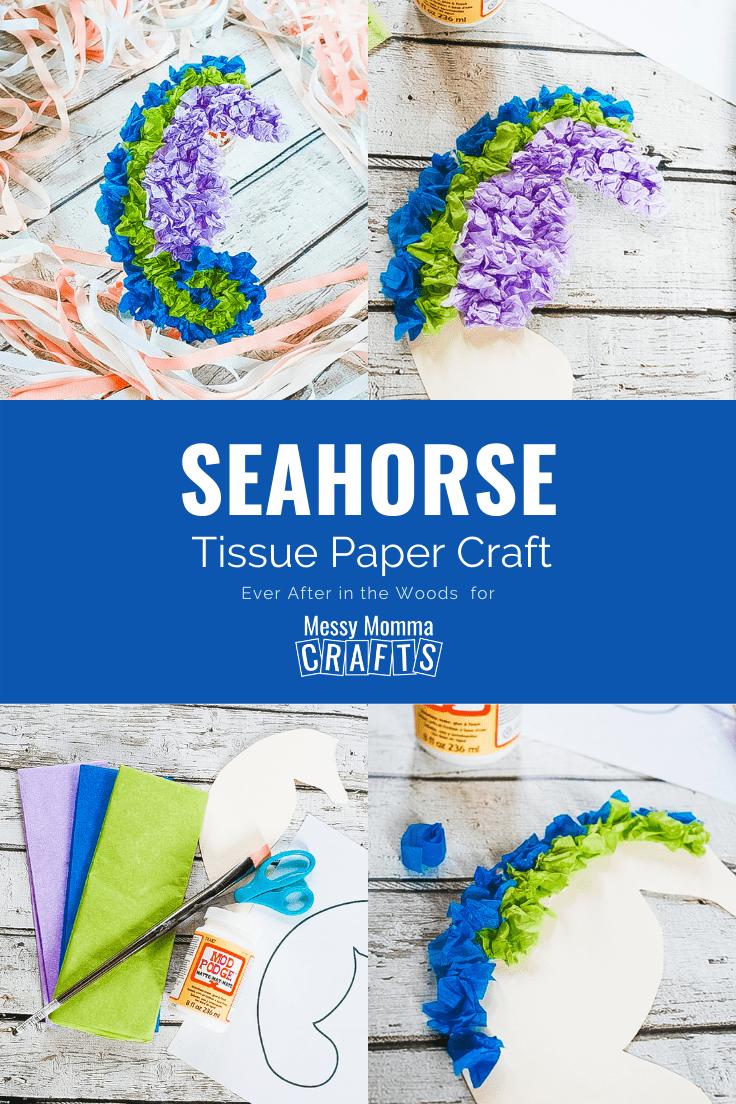 Seahorse tissue paper craft.
