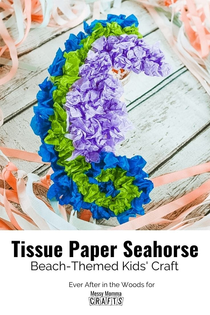 Tissue paper seahorse beach-themed craft.