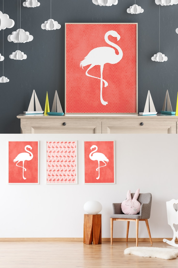 Preview of printable flamingo wall art in children's room. Top showing art in frame on dresser with boat decorations on shelf. Bottom shows triptych wall art in room with floor lamp, chair, rug and baby crib.