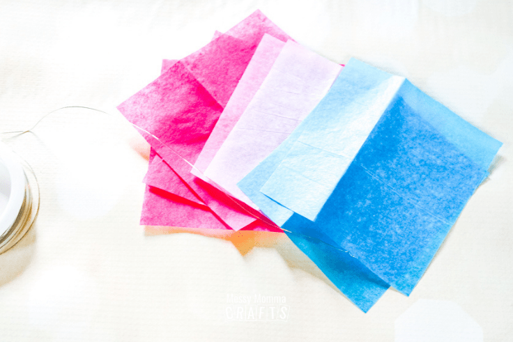 Fuchsia, pink, and blue tissue paper.