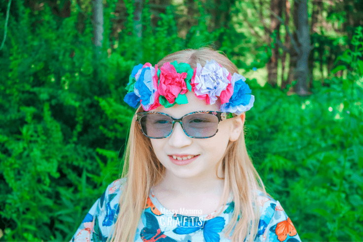 Flower crown out of tissue paper flowers.