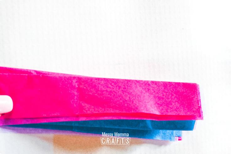 Accordion folding tissue paper.