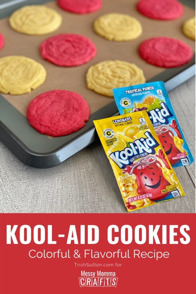 Pan of Kool-Aid cookies in alternating colors with two packets of Kool-Aid on a wood background.