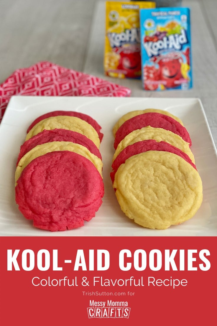 White plate filled with red and yellow Kool-Aid cookies.