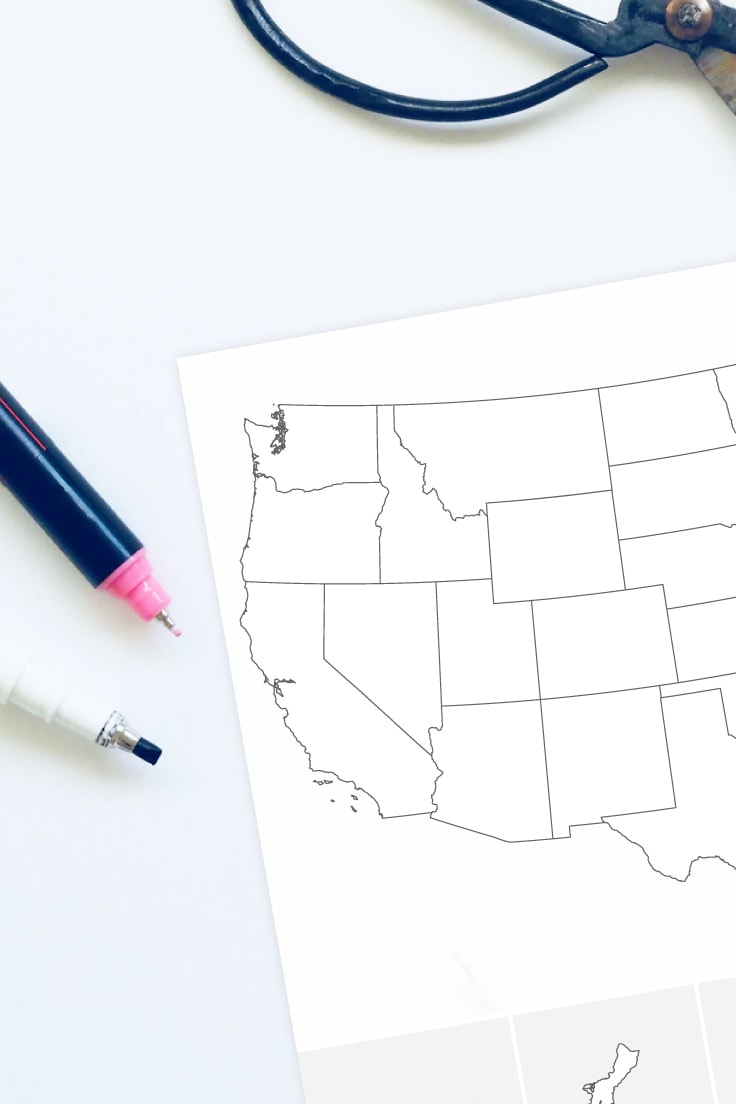 Close-up of the blank United States map printable on desk with pens and scissors.
