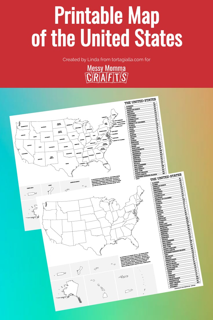 Preview pages of Printable Map of the United States on a multi-colored background.