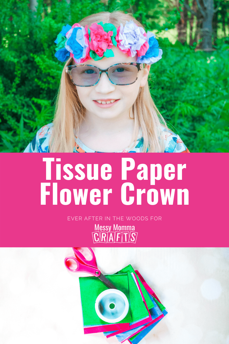 Child wearing a tissue paper flower crown and a stack of supplies including tissue paper, wire, and scissors.
