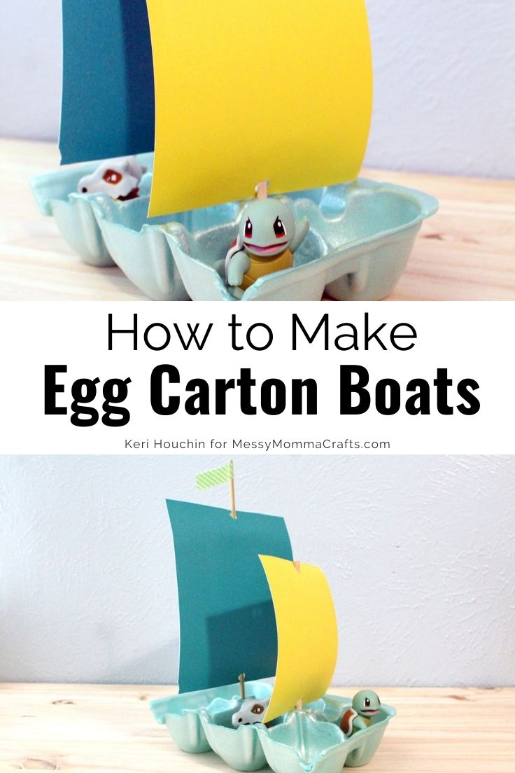 How to make egg carton boats with paper sails for toys and action figures to ride in.