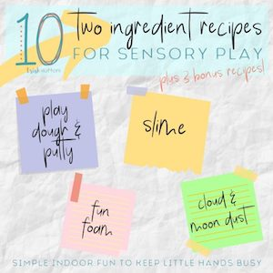 Two ingredient sensory play ideas from Trish Sutton.