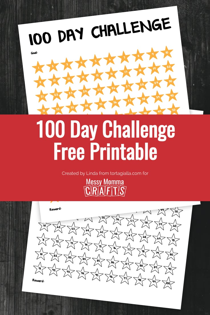 Preview of 100 day challenge printable full color and black and white version on black wood background.