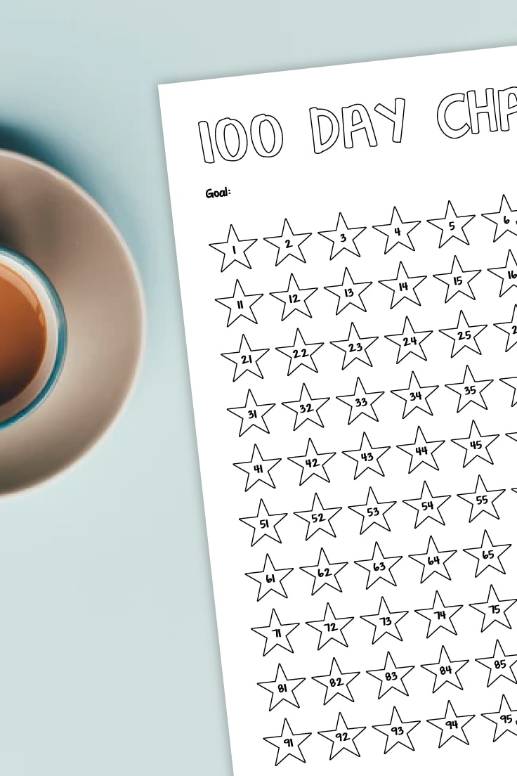 Preview of black and white printable challenge tracker on countertop with cup of coffee.