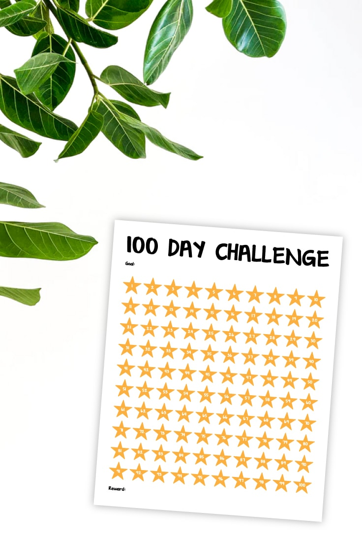 Preview of yellow colored 100 day challenge numbered stars printable on white background with yellow leaves in upper left hand corner.