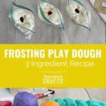 Collage image of three bags of play dough with food coloring on top and prepared edible Frosting Play Dough on the bottom.
