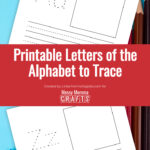 Preview of printable alphabet to trace PDF on background of colored pencils.