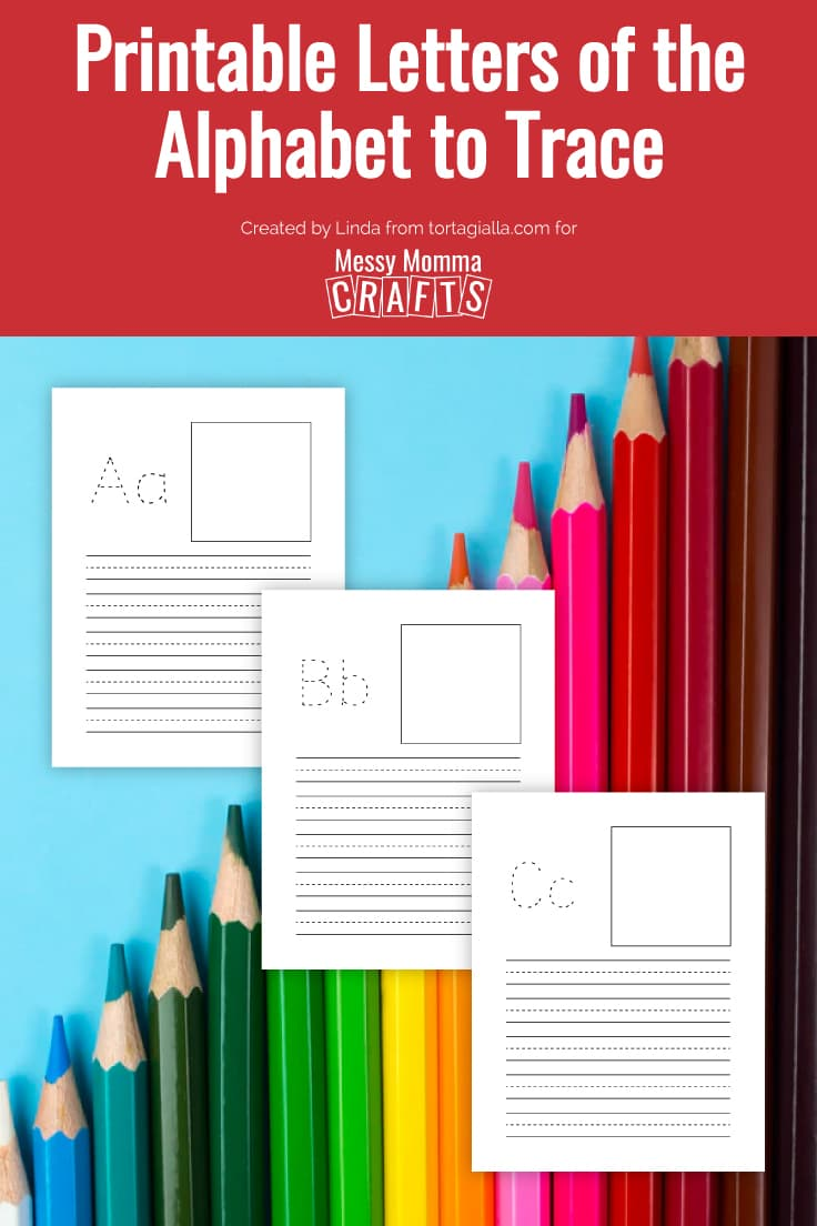 Preview of A, B, C printable letters practice sheet on top of a colored pencils background.