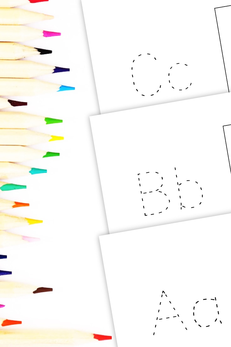 Preview of printable letters of the alphabet A, B and C next to column of colored pencils.