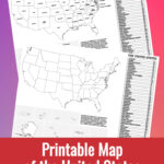 Preview pages of Printable Map of the United States on a multi-colored background