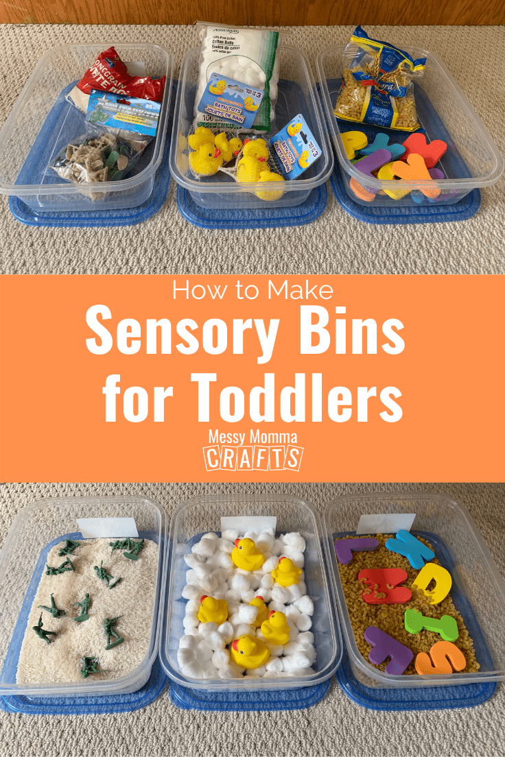 Three easy to make sensory bins for toddlers.